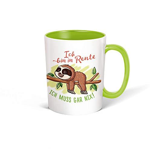 Trötsch Tasse Faultier Rentner weiß grün: Kaffeetasse Teetasse Geschenkidee Geschenk
