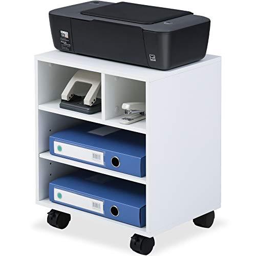 FITUEYES Soporte para Impresora Madera Blanco 4 Compartimientos con Ruedas Carrito Organizador para Oficina Casa 40x30x48.5cm...