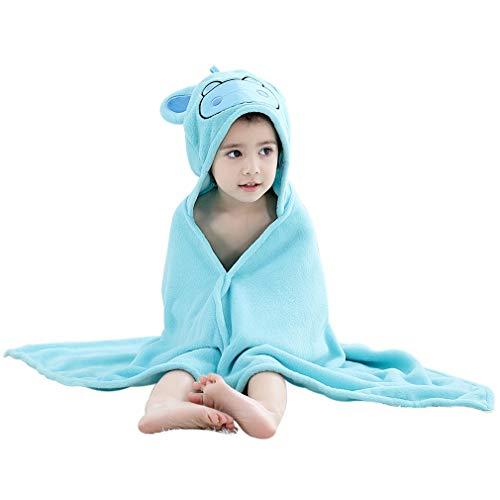 ZZYOU Süß Nilpferd Bademäntel Schön Badetuch Weich Schower Handtücher Strandtücher zum Babys Kinder oder Mädchen Blau