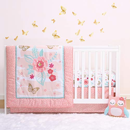 The Peanutshell Aflutter Crib Bedding Set | 3 Piece Floral Nursery Set | Baby Blanket, Crib Sheet, Crib Skirt Included