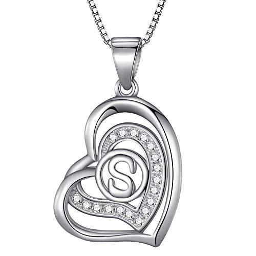 Morella® Damen Halskette Herz Buchstabe S 925 Silber rhodiniert mit Zirkoniasteinen weiß 46 cm