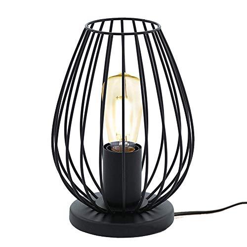 Mengjay Retro Gitter Tischleuchte im Vintage Look, E27 Tischlampe, Vintage Tischleuchte Nachttischlampe aus Metall,Farbe: Schwarz, Fassung: E27, inkl. Schalter,für Schlafzimmer Nachttischlampen