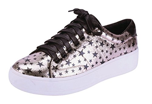 Cambridge Select Women's Closed Round Toe Lace-Up Allover Star Print Flatform Fashion Sneaker (8.5 B(M) US, Rose Gold)