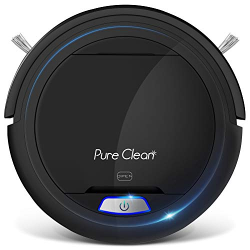 Pure Clean Robot Vacuum Cleaner - Upgraded Lithium Battery 90 Min Run Time - Automatic Bot Self Detects Stairs Pet Hair Allergies Friendly Robotic Home Cleaning for Carpet Hardwood Floor - PUCRC26B V2
