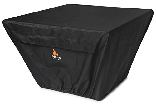 Outland Fire Table UV & Water Resistant Durable Cover for 36-Inch Square Series 410 Outdoor Propane Fire Pit Tables, Square 37-Inch x 26-Inch - Breathable Venting with Mesh Barriers & Watertight Seams