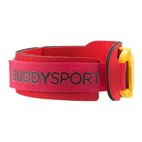 BUDDYSWIM Porta Chip. Banda Elástica de Neopreno para el Tobillo Natación, Ciclismo, Running, Triatlón u Otros Deportes. Color Rojo