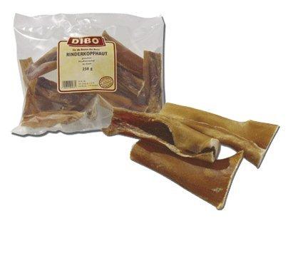 DIBO Rinderkopfhaut, 250g-Beutel, Naturkau-Snack oder Leckerli für Zwischendurch, Hundefutter, Qualitätskauartikel ohne Chemie