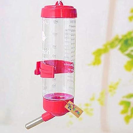 Western Era Cage Hanging Water Bottle, Dispenser Feeder, No Drip, Leak Proof, Fit for Hamster, Guinea Pig, Rabbit, Dog (Red)