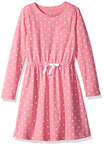 Amazon Essentials Big Girl's Long-Sleeve Elastic Waist T-Shirt Dress, sachet pink/white simple dot with white bow, L