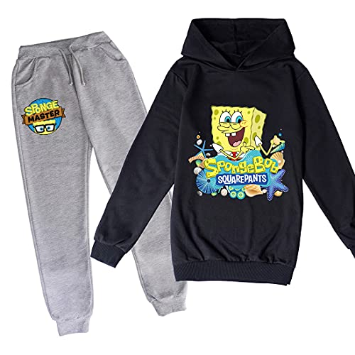 Proxiceen Spongebob Jogging Kleidung Mädchen Baumwolle Spaß Kleidung Kinder Hoodies und Hosen passt Jungen Langarm Hoodies (A7,170)