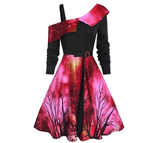 ReooLy Damen-Kostüm mit Weihnachtsmotiv und Sternenhimmel Halloween-Asymmetrisches Kleid mit Schleifenausschnitt(Rot,XXXX-Large)