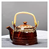 Jarras de té Mango de cerámica Hervidor de té Kitn de gran capacidad Cambie la olla de té con orificios de filtro Hervidor de frío Hacer tébete Home Ceramic Tea Set 50 0ML / 900ML Teteras
