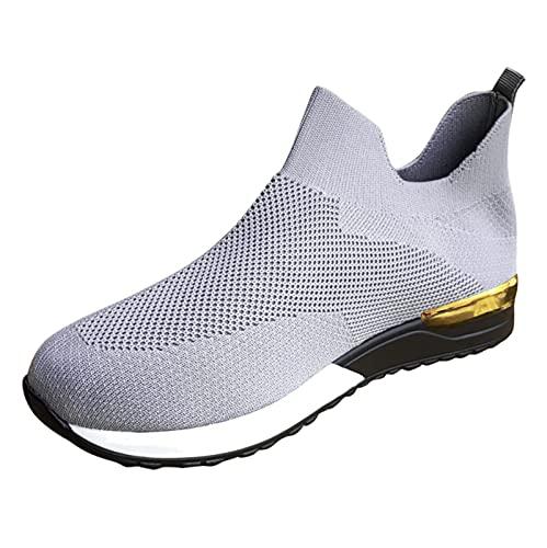 Zapatillas de Senderismo para Mujer Tejidas Ligeras y elásticas Transpirables para Caminar a la Moda, cómodas Zapatillas Deportivas Mary Jane (M13_Dark Gray,39)