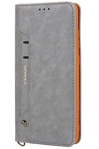 Handytasche Compatible with Samsung Galaxy S20 Plus +,Kunst Leder Case Handyhülle Flip Case mit Kredit Karten Hülle Geldklammer Unsichtbar Magnet und Stand Funktion Schutzhülle,Grau