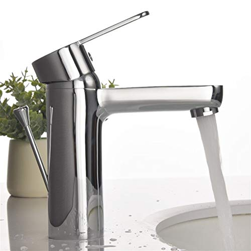 Badkamer Regelmatige Tuit Badkamer Vanity Kraan Met Sink Mixer Tap Voor Lavatory Badkamer Vanity wastafel Kraan, Gepolijst Chroom 5 Jaar Garantie Gemakkelijk schoon te maken, Eenvoudige Installatie,