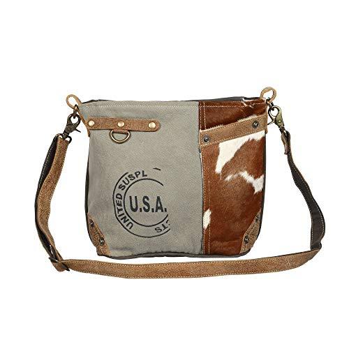 """Genuine Leather and Hair On Hide Canvas Stamp 14"""" x 4"""" x 10' Shoulder Strap 9.5"""" Adjustable Shoulder Strap Exterior Zip Pocket"""