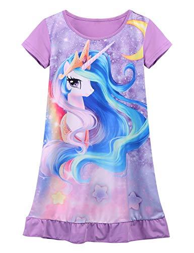 ADOME Mädchen Einhorn Kleid/Nachthemd Baumwolle Rosa/Lila/Hellpurpur 110-150 Kurze Ärmel Nachtwäsche Drucken Nachthemden