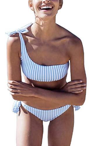 KIRALOVE Costume Donna Due Pezzi - Monospalla - Bikini - Top - Slip - Mare - da Bagno - Coordinato - Ragazza - Righe - Colore Bianco e Azzurro - Taglia L