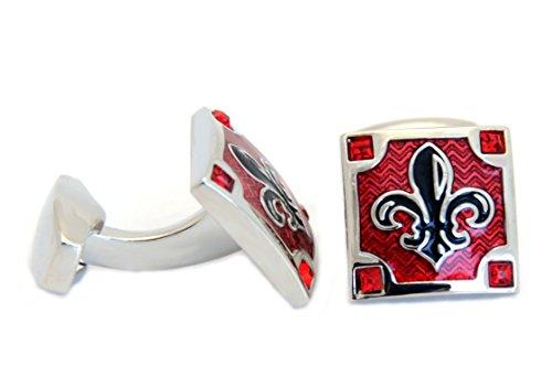 Unbekannt Manschettenknöpfe Lilie schwarz roter Transparentlack quadratisch + 4 rote Kristallsteine + Silberbox