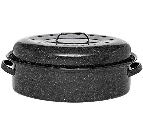 Warmcook - 0509+2005 - Cocotte ovale en acier carbon 46x31cm + grille roaster graniteware