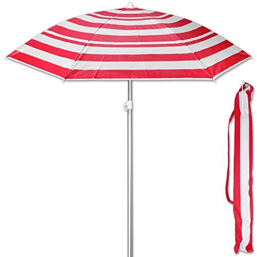 TW24 Sonnenschirm 175 cm mit Farbwahl Strandschirm UV 50+ Sonnenschutz Gartenschirm verstellbar Schirm (Streifen Rot)