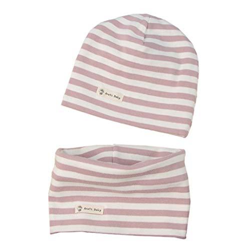 Boomly Baby Strickmütze+ Loop Schal Set Baumwollmütze Weich Kinder Mode Beanie Mütze Nackenwärmer Halsbänder Halstuch Herbst Winter (Rosa + Weiß, 0-6 Monate altes)