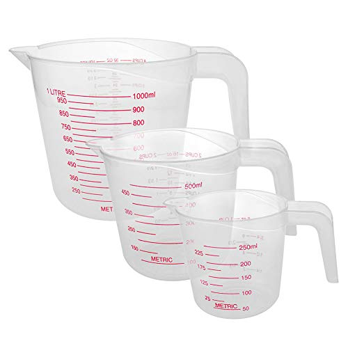 Lorcoo Juego de 3 jarras medidoras de plástico- Vasos medidores con Agarre...