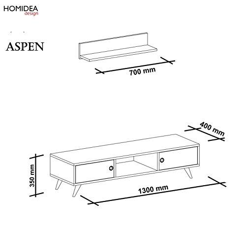 ASPEN Wohnwand – Weiß / Nussbaum – TV Lowboard mit Wandregal in modernem Design (Weiß / Nussbaum) - 4
