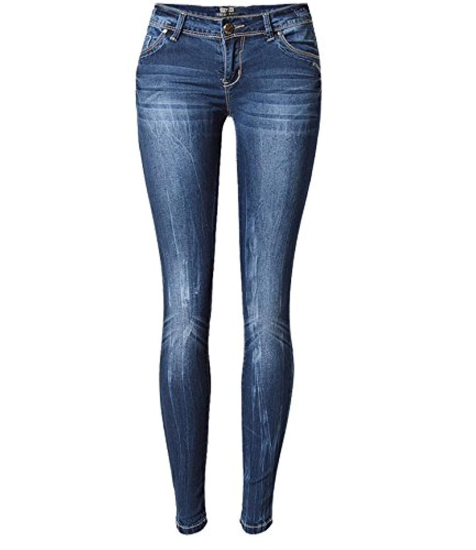 Jieming ローウエストスリムストレッチレディースタイドリフティングライトニングウォッシュデニムパンツズボンは大きなサイズを持っています (Color : Blue, Size : XL)