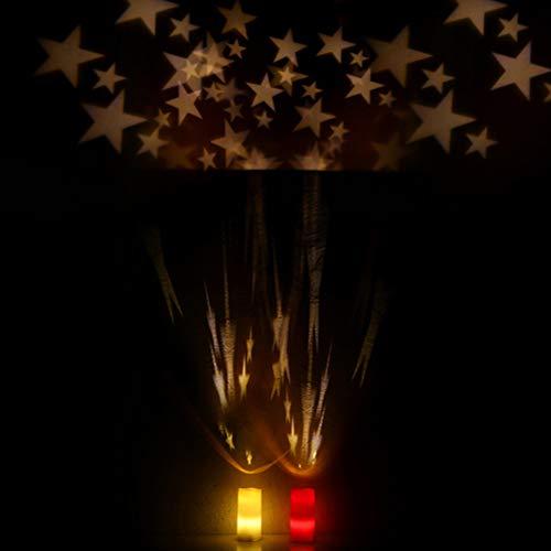 OSALADI LED Kerze Projektor Lampe Sternenhimmel Innenlicht Dekoratives Romantisches Nachtlicht mit Fernbedienung (Elfenbein, Warmweiß)