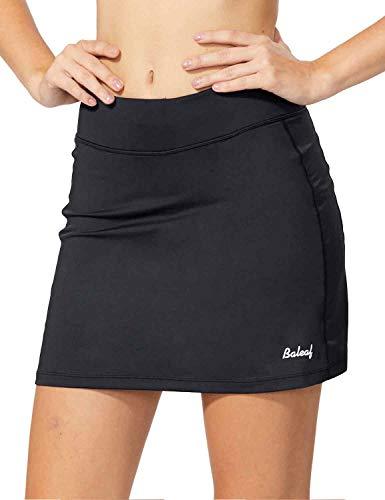BALEAF Women's Athletic Skorts Lightweight Active Skirts with Shorts Pockets Running Tennis Golf Workout Sports Black Size L