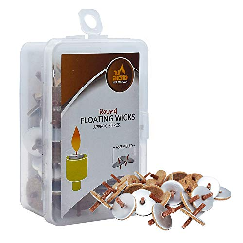 Pre-Assembled Round Floating Wicks - 50 Count (Approx.), Cotton Wicks and Cork Disc Holders for Oil Cups