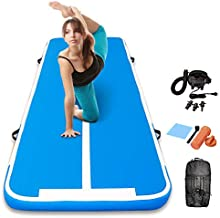 Track Air Mats Gymnastics Inflatable Air Tumbling Mat 10Ft 13Ft 16Ft 20Ft With Electric Air Pump For Water Yoga,Beach,Training (All Light Blue, 13 FT)