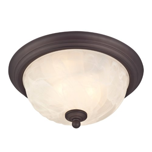 Westinghouse Lighting 6230900 Naveen Two-Light Flush-Mount Exterior Fixture, Oil Rubbed Bronze Finish on Steel with White Alabaster Glass