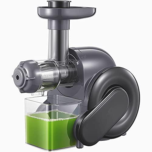 Slow Juicer - Leiser Entsafter für alle Gemüse und Obst Sorten, Vitaminschonende Saftpresse elektrisch mit Umkehr Funktion Inkl Reinigungsbürste - BPA Frei