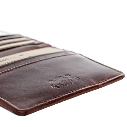 SID & VAIN cardholder Earnest Small Wallet (Slim) Real Leather Billfold Extra-Thin Genuine Leather Women Men Brown