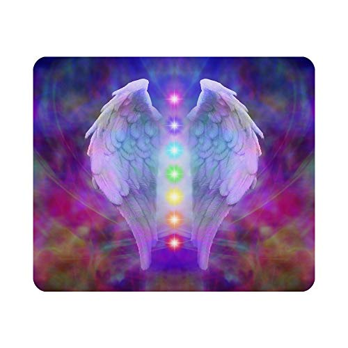 Nicokee Gaming Mouse Pad Reiki Angel Wings and Seven Chakras on Colorful Soul Healing Divine Non-Slip Rubber Mouse Pad for Computers, Laptop, Office, Home Rectangle Mousepad 9.5 Inch x 7.9 Inch