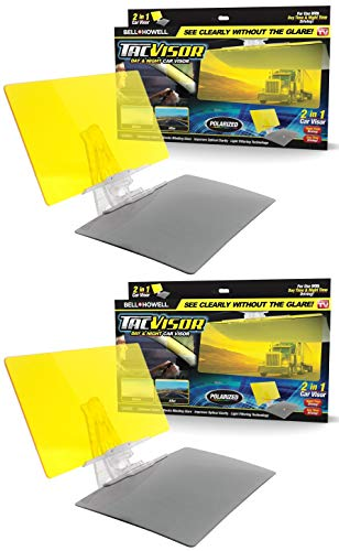 Bell + Howell TACVISOR for Day and Night, Anti-Glare Car Visor, UV-Filtering/Protection As Seen On TV (Set of 2)