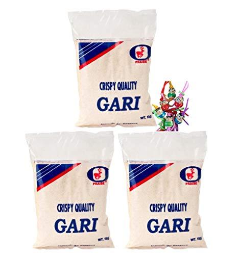 3er-Pack - [3x 1kg] Grobes Maniokmehl, Cassava Mehl, GARI, Kassava Mehl, glutenfrei, von PRAISE + ein kleines Glückspüppchen - Holzpüppchen