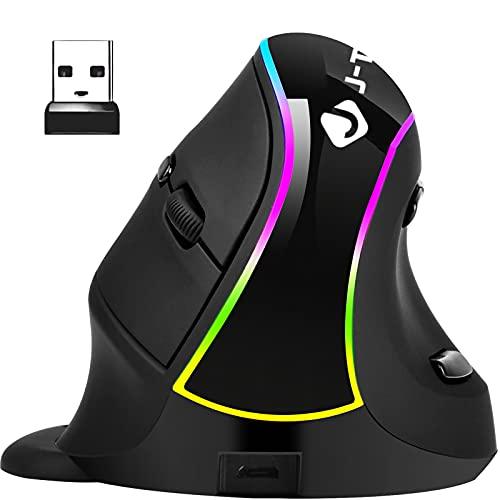 Mouse verticale wireless, mouse ottico ergonomico ricaricabile 800-1200-1600-3200 DPI Luce RGB con supporto per i polsi staccabile (non per i giochi) - Riduce il dolore alla mano   al polso