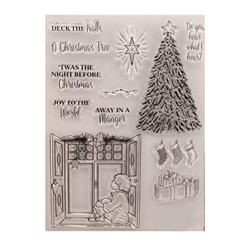 BESTOYARD Silikon Clear Stamps Cling Siegelblatt Weihnachtsbaum Gummi für DIY Scrapbooking Fotoalbum Tagebuch Dekoration (T1399)