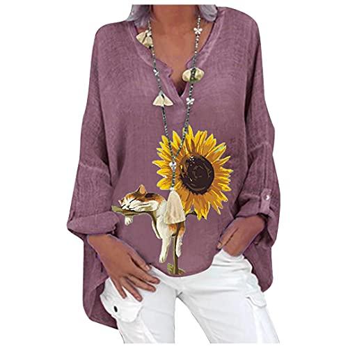 BLACKHEI Blusa de Talla Grande 5XL para Mujer Camisa Holgada con Cuello en V con Estampado Floral G 5XL