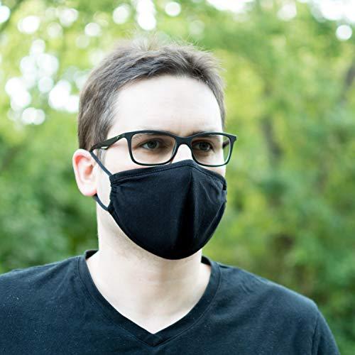 WENGAO 2 Gesichtsmaske Baumwolle, schwarz für Sport und Freizeit - Wiederverwendbar