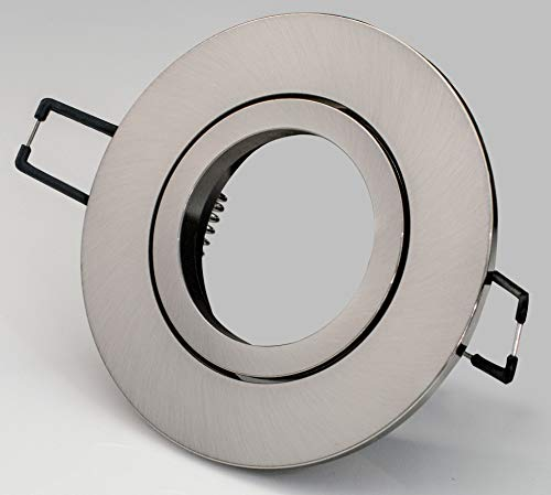 LED-Einbaustrahler Rahmen Acryl-Glas, Chrom, Matt, Eisengebürstet, Punktiert (Aluminium gebürstet Rund (schwenkbar))