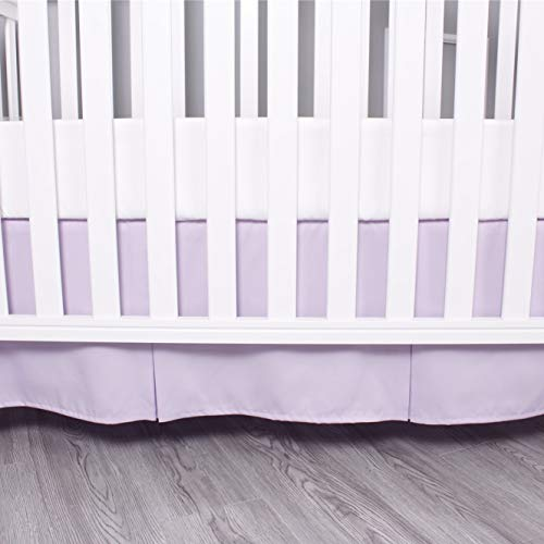Belsden Crib Skirt with Durable Woven Platform, Both Long Sides Pleated, Split Corners Dust Ruffle for Easy Placement Inside of Standard Crib Bed, 14 inches (36cm) Length Drop, Light Purple Color
