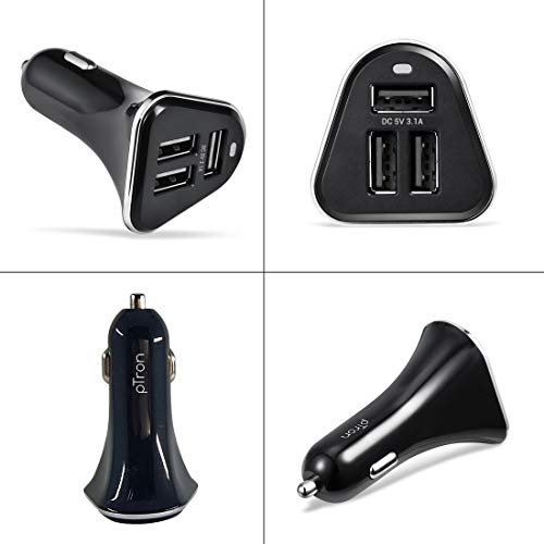 PTron Bullet 3.1A Fast Charging Car Charger, 3 USB Port, Fire Resistant, Lightweight, & Compact Car Charger for All Mobiles with Micro USB Cable (Black)