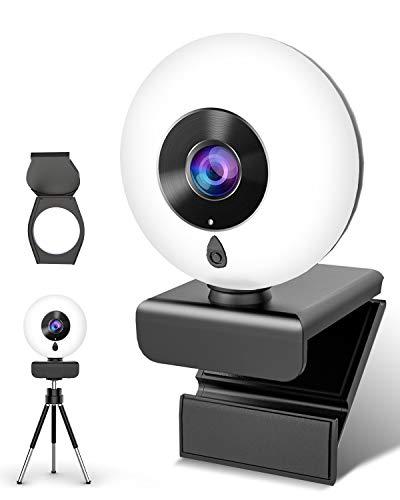 NIYPS 2K Webcam mit Mikrofon und Ringlicht HD Streaming Web Cam mit Abdeckung und Stativ für PC/MAC/Laptop/Desktop, USB Facecam für YouTube,Skype,Zoom,Xbox,Lernen, Videokonferenz und Videoanrufe
