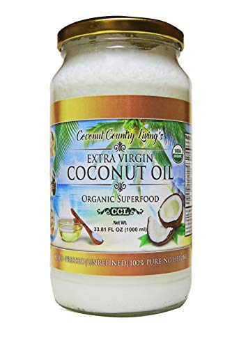 Organic Coconut Oil 33.81 Oz Extra Virgin Cold-Pressed for Hair, Skin, Beauty and Cooking