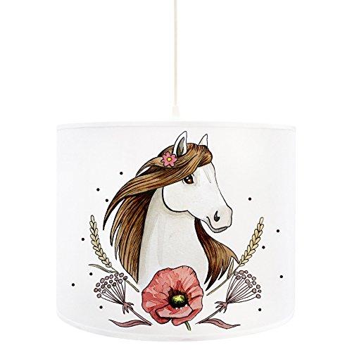 ilka parey wandtattoo-welt Deckenlampe Pferd Deckenleuchte Lampe mit Pferdemotiv Mohnblume und Punkte D73 - ausgewählte Größe: *L - 40cm Durchmesser x 30cm Höhe*