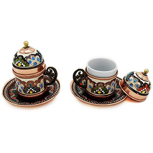 Copper Turkish Coffee Cups with Saucer and Lid (Set of 2)